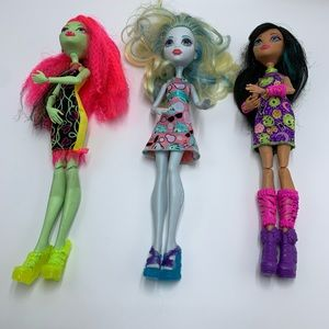 High Monster Dolls, 2015 and 2016, lot of 3,Mattel